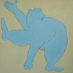 NEW Original Painting Sumo Wrestler In Blue, 30x30, By Ben Gertsberg